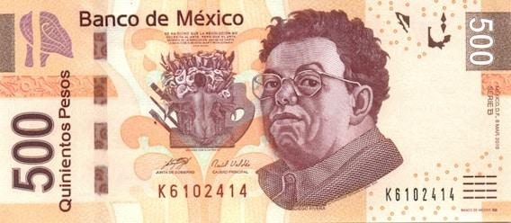 Billete 500 Mexico Tipo F Anverso
