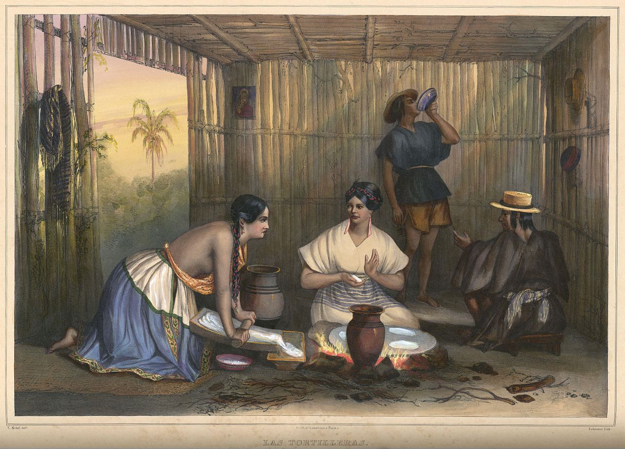 Making Tortillas in Colonial Times by Carl Nebel