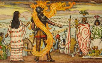 Hernán Cortés & La Maliche Mural by Roberto Cueva del Rio
