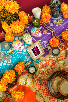 Sugar Skulls Placed on Ofrenda
