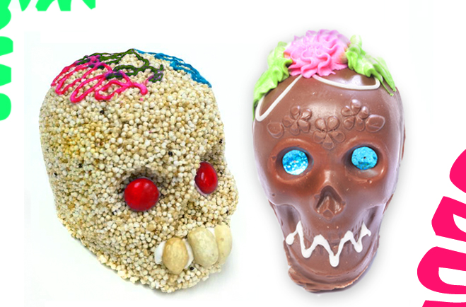 Amaranth & Chocolate Skulls